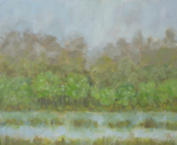 a photograph of an oil painting title 'Gull Loch, Mist' by artist Catherine Coulson © 2018 Catherine Coulson