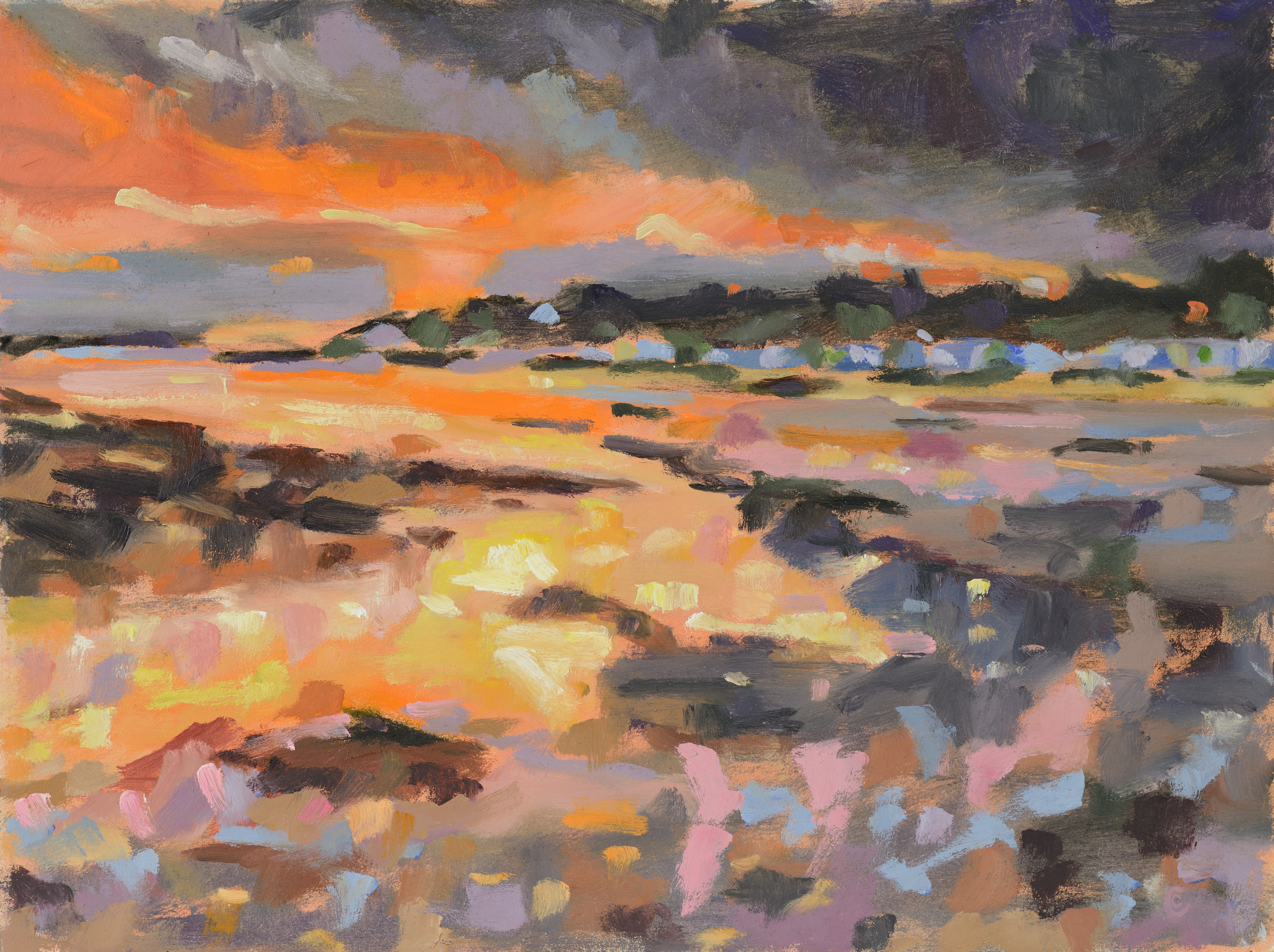 Catherine Coulson | Lowtide Sunset | 2014 | 12x16in | oil on board