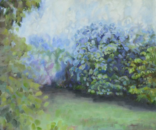 a photograph of an oil painting title 'Orchard Mist, Towards the Ash Tree' by artist Catherine Coulson © 2018 Catherine Coulson