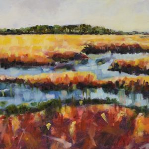 a photograph of an oil painting title 'Hen Reedbeds' by artist Catherine Coulson © 2015 Catherine Coulson
