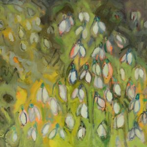 a photograph of an oil painting title 'Snowdrops' by artist Catherine Coulson © 2018 Catherine Coulson