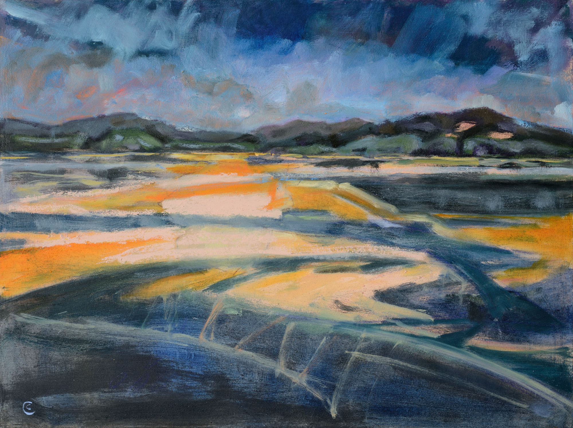 a photograph of an oil painting title 'Urr Sunset' by artist Catherine Coulson © 2018 Catherine Coulson
