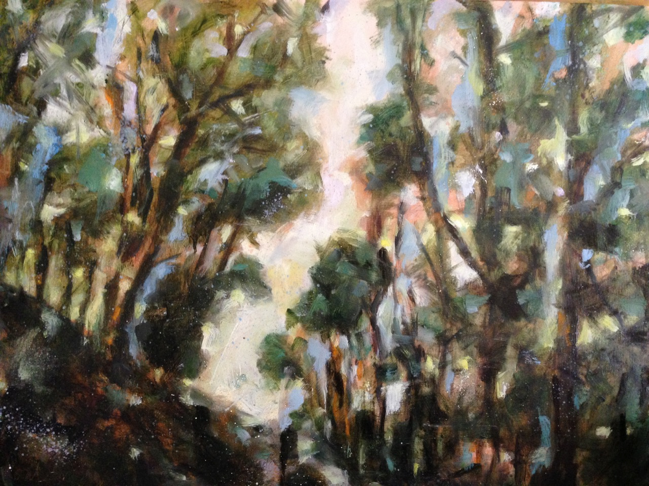 a photograph of an oil painting title 'Tree tunnel near Stoodleigh' by artist Catherine Coulson © 2018 Catherine Coulson