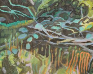 Catherine Coulson | Beneath the Birch Saplings, Kirkconnell Flow (detail) | 2018 | oil on board | 11x9in
