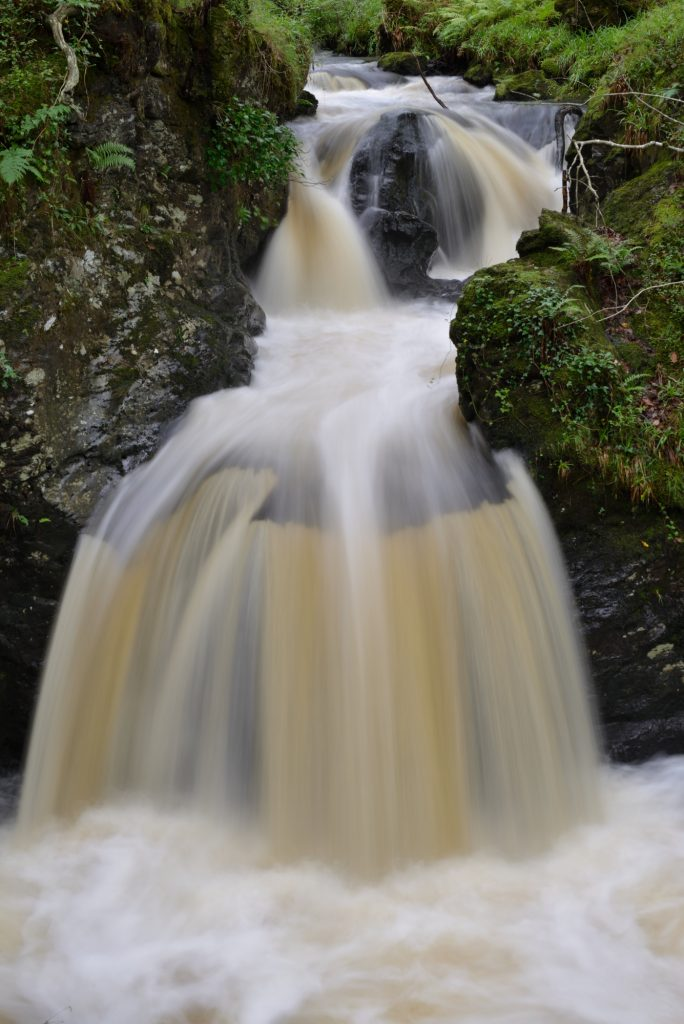 Cordocan Burn waterfalls, Wood of Cree