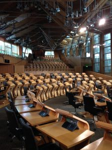 MSP desks in the Debating Chamber
