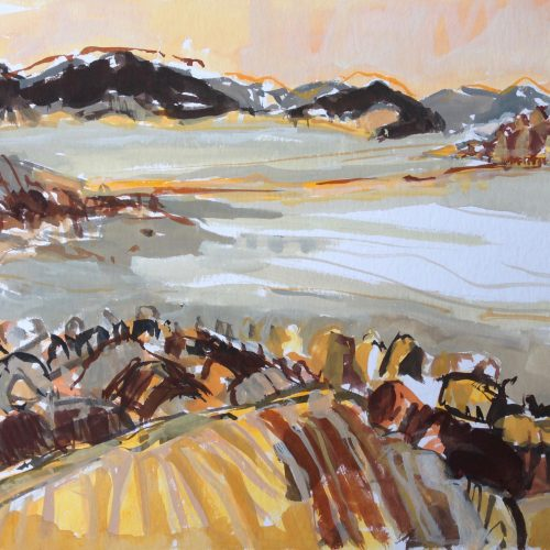 a photograph of a gouache painting title 'Across the Causeway' by artist Catherine Coulson © 2019 Catherine Coulson