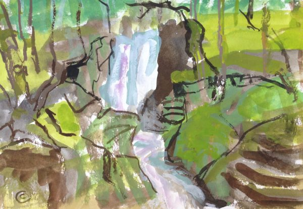 a photograph of a gouache painting title 'Cordorcan Falls, Wood of Cree' by artist Catherine Coulson © 2019 Catherine Coulson