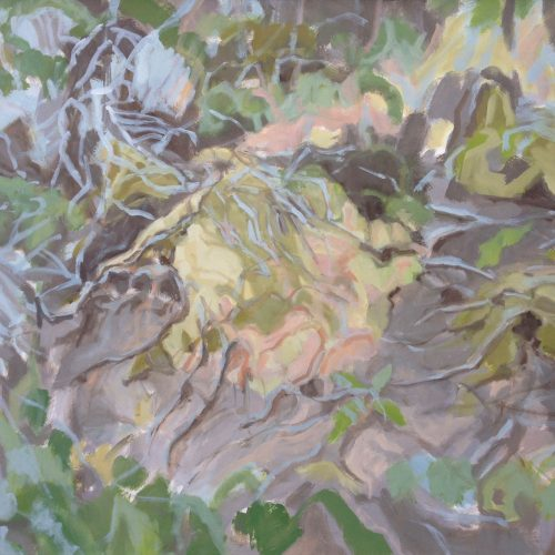 a photograph of an oil painting title 'Sphagnum Mound, Summer' by artist Catherine Coulson © 2019 Catherine Coulson