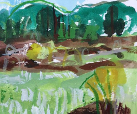 a photograph of a gouache painting title 'Cottongrass and Peat, Kirkconnell Flow' by artist Catherine Coulson © 2019 Catherine Coulson