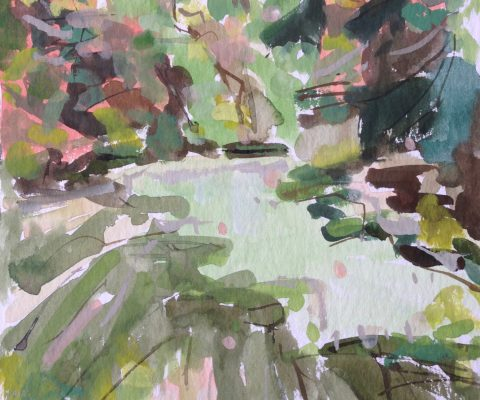 a photograph of a gouache painting title 'Druid Loch C' by artist Catherine Coulson © 2019 Catherine Coulson