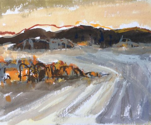 a photograph of a gouache painting title 'Tidelines, Rough Island' by artist Catherine Coulson © 2019 Catherine Coulson