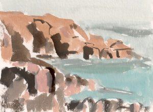 Catherine Coulson | Colvend Coast A | 2019 | 15x20cm | gouache on watercolour paper