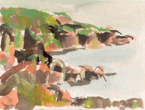 Catherine Coulson | Colvend Coast B | 2019 | 15x20cm | gouache on watercolour paper