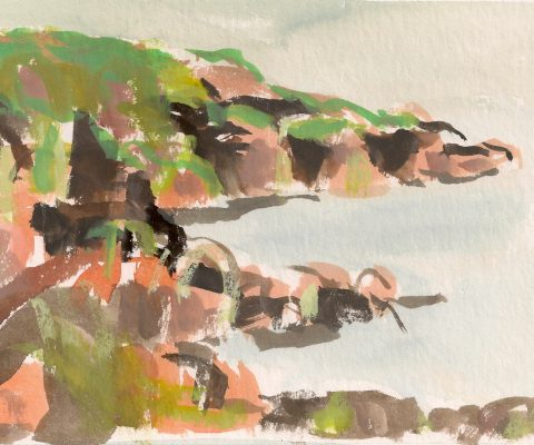 a photograph of a gouache painting title 'Colvend Coast B' by artist Catherine Coulson © 2019 Catherine Coulson