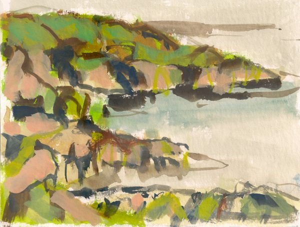a photograph of a gouache painting title 'Colvend Coast C' by artist Catherine Coulson © 2019 Catherine Coulson