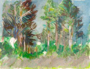 Catherine Coulson | Scots Pines, Bog Edge, Kirkconnell Flow | 2018 | 15x20cm | gouache on watercolour paper