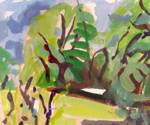 a photograph of a gouache painting title 'Sloe View A' by artist Catherine Coulson © 2018 Catherine Coulson