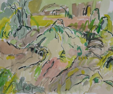 a photograph of a gouache painting title 'Sphagnum Mound, Kirkconnell Flow' by artist Catherine Coulson © 2019 Catherine Coulson