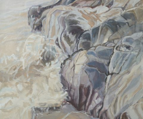 a photograph of an oil painting title 'Gutcher's Isle Rocks' by artist Catherine Coulson © 2018 Catherine Coulson