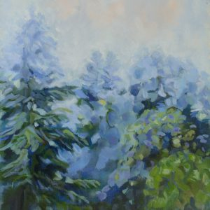 a photograph of an oil painting title 'Orchard Mist Morning' by artist Catherine Coulson © 2017 Catherine Coulson