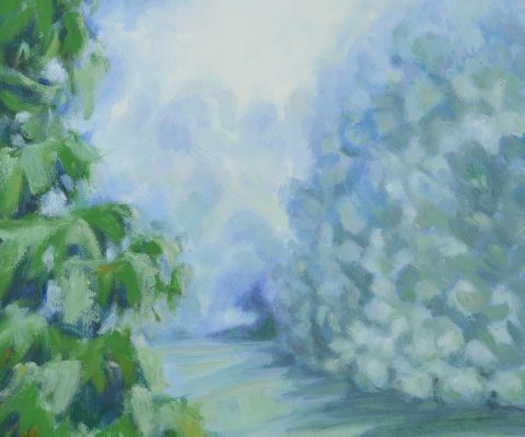 a photograph of an oil painting title 'Orchard Mist Morning' by artist Catherine Coulson © 2018 Catherine Coulson