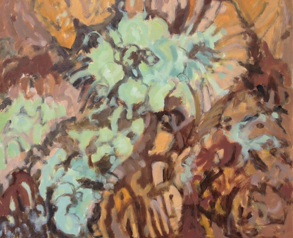 a photograph of an oil painting title 'Reindeer Lichen and Heather' by artist Catherine Coulson © 2019 Catherine Coulson