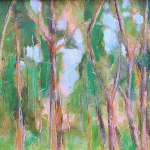 a photograph of an oil painting title 'Treetops, Carstramon Wood' by artist Catherine Coulson © 2018 Catherine Coulson