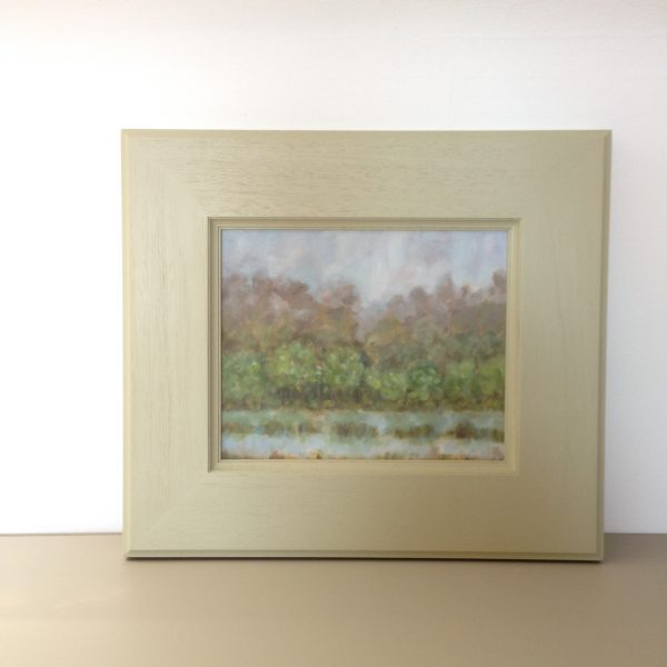 a photograph of an oil painting title 'Gull Loch, Mist' by Catherine Coulson © 2020 Catherine Coulson catcoulson.art