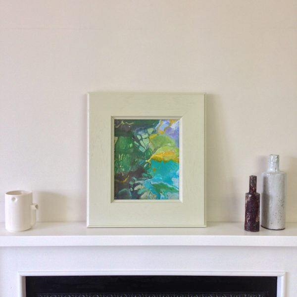 a photograph of a framed oil painting on a mantelpiece, title 'Colvend Hinterland' by artist Catherine Coulson © 2018 Catherine Coulson