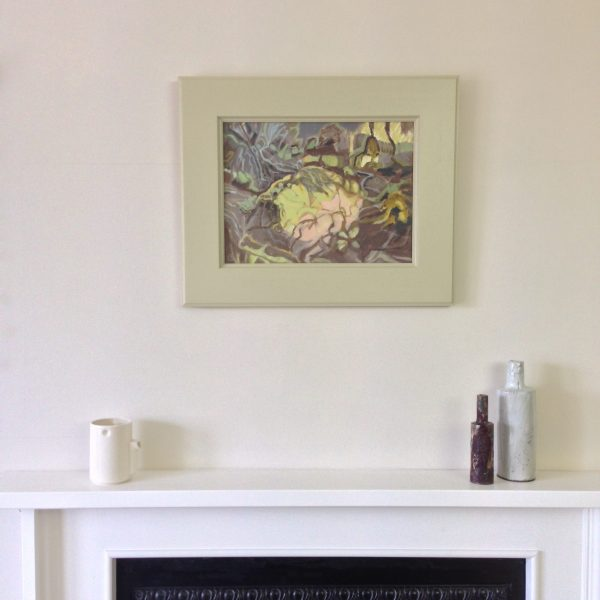 a photograph of a framed oil painting on a mantelpiece, title 'Sphagnum Mound II, Summer' by artist Catherine Coulson © 2018 Catherine Coulson
