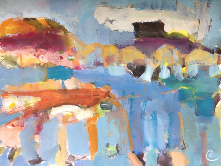 photograph of a gouache painting title 'Islands' by artist Catherine Coulson © 2020 Catherine Coulson