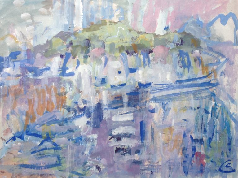 photograph of a gouache painting title 'Islands and Light' by artist Catherine Coulson © 2020 Catherine Coulson