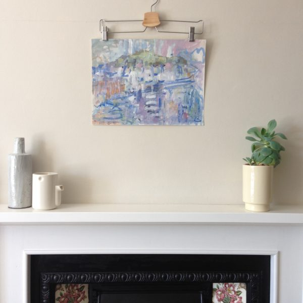 photograph of a gouache painting over a mantelpiece title 'Islands and Light' by artist Catherine Coulson © 2020 Catherine Coulson catcoulson.art
