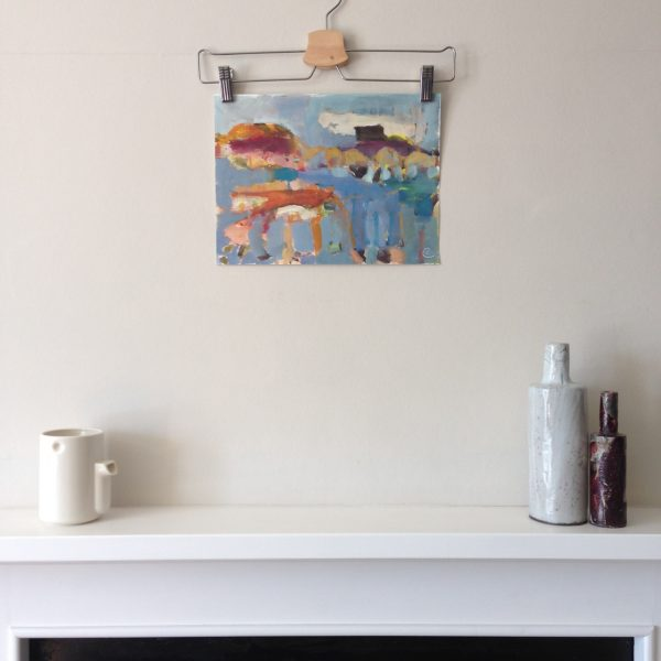 photograph of a gouache painting over a mantelpiece title 'Islands' by artist Catherine Coulson © 2020 Catherine Coulson