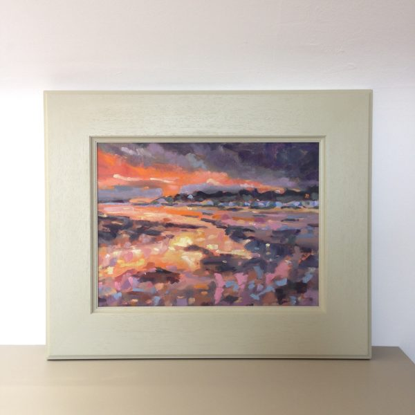 a photograph of an oil painting title 'Lowtide Sunset' by Catherine Coulson © 2020 Catherine Coulson catcoulson.art