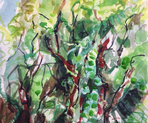 photograph of a painting 'Orchard Woodland' by Catherine Coulson © 2019 catcoulson.art