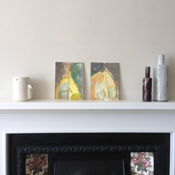 photograph of a gouache painting over a mantelpiece title 'Patina Study I & II' by artist Catherine Coulson © 2020 Catherine Coulson