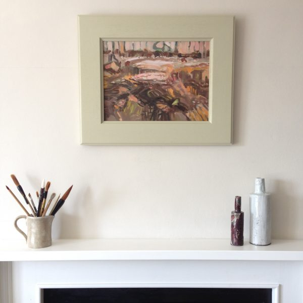 a photograph of an oil painting title 'Surface' on a mantelpiece by Catherine Coulson © 2020 Catherine Coulson catcoulson.art