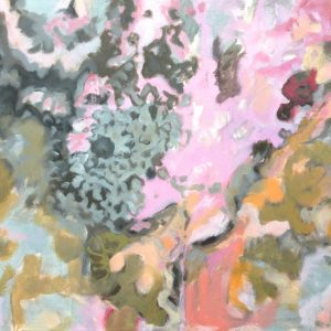 a photograph of an oil painting title 'Pink Lichen' by Catherine Coulson © 2020 Catherine Coulson catcoulson.art