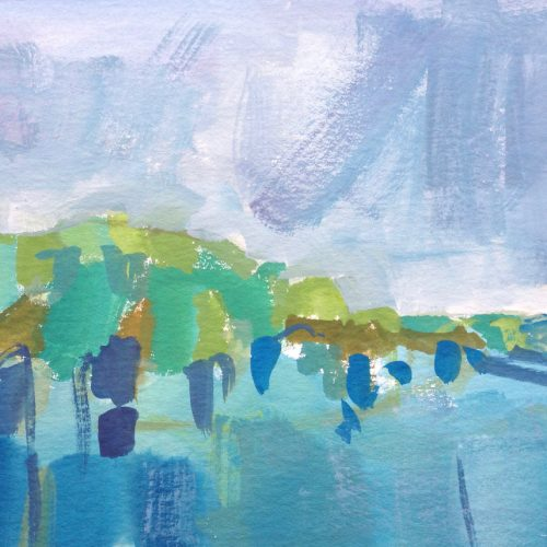 a photograph of an oil painting title 'Through the Mist' by Catherine Coulson © 2020 Catherine Coulson catcoulson.art