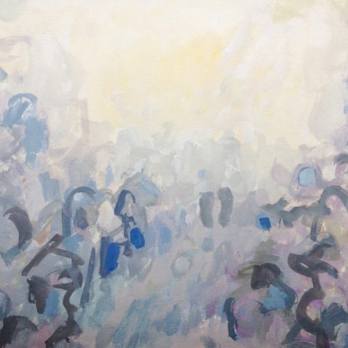 a photograph of a gouache painting title 'Through the Mist' by Catherine Coulson © 2020 Catherine Coulson catcoulson.art