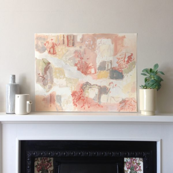 a photograph of an oil painting title 'Undergrowth, Kirkconnell Flow' on a mantelpiece by Catherine Coulson © 2020 Catherine Coulson catcoulson.art