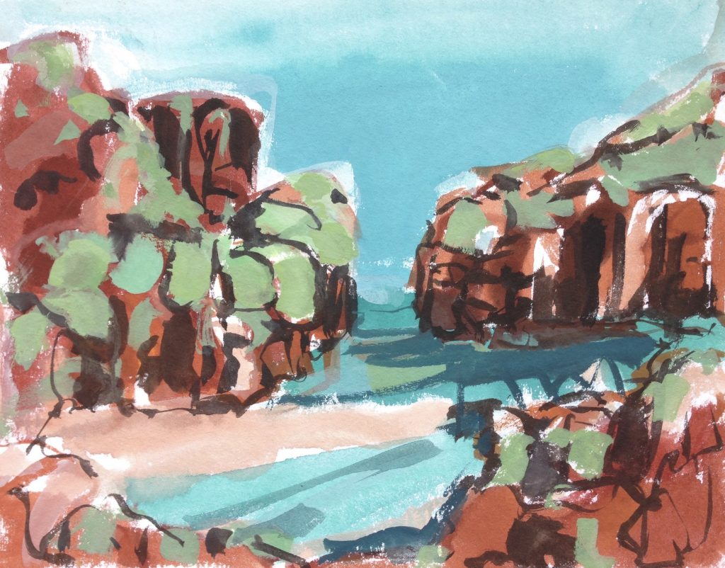 a photograph of a gouache painting title 'Summer, Gutchers Isle' by Catherine Coulson © 2020 Catherine Coulson catcoulson.art