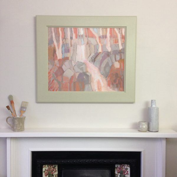 a photograph of an oil painting title 'Downward' on a mantelpiece by Catherine Coulson © 2020 Catherine Coulson catcoulson.art