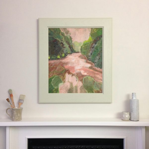 a photograph of an oil painting title 'Druid Loch' on a mantelpiece by Catherine Coulson © 2020 Catherine Coulson catcoulson.art
