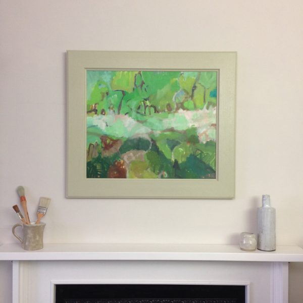 a photograph of an oil painting title 'Kirkconnell Flow' on a mantelpiece by Catherine Coulson © 2020 Catherine Coulson catcoulson.art