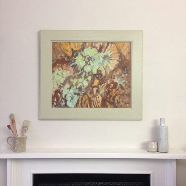 a photograph of an oil painting title 'Reindeer Lichen and Heather' on a mantelpiece by Catherine Coulson © 2020 Catherine Coulson catcoulson.art