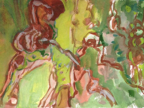 photograph of a gouache painting 'Roots' by Catherine Coulson © 2019 catcoulson.art