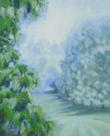 Catherine Coulson | Orchard Mist Morning 2018 | 9x11in | oil on board
